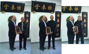 After nearly 50 years of diligent study and continuous teaching, Dr Chung Maannin (鍾萬年博士) --- lineage holder of Leung Sheung style Wing Chun Kung Fu, was honored with the 'Instructor of the Year Award' by the top 3 Wing Chun grandmasters at the Hong Kong Ving Tsun Athletics Association Headquarters. Pictured here presenting the award are: Grandmaster Chan Cheeman (L), Grandmaster Chu Shongtin (M), and Grandmaster Ip Ching (R).